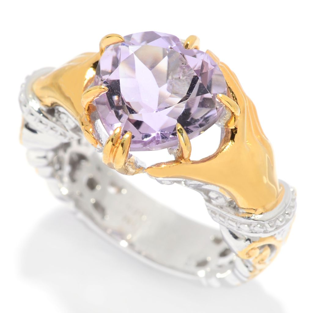 "139-420 - Gems en Vogue II 3.38ctw Heart-Cut Pink Amethyst ""Claddagh"" Ring"