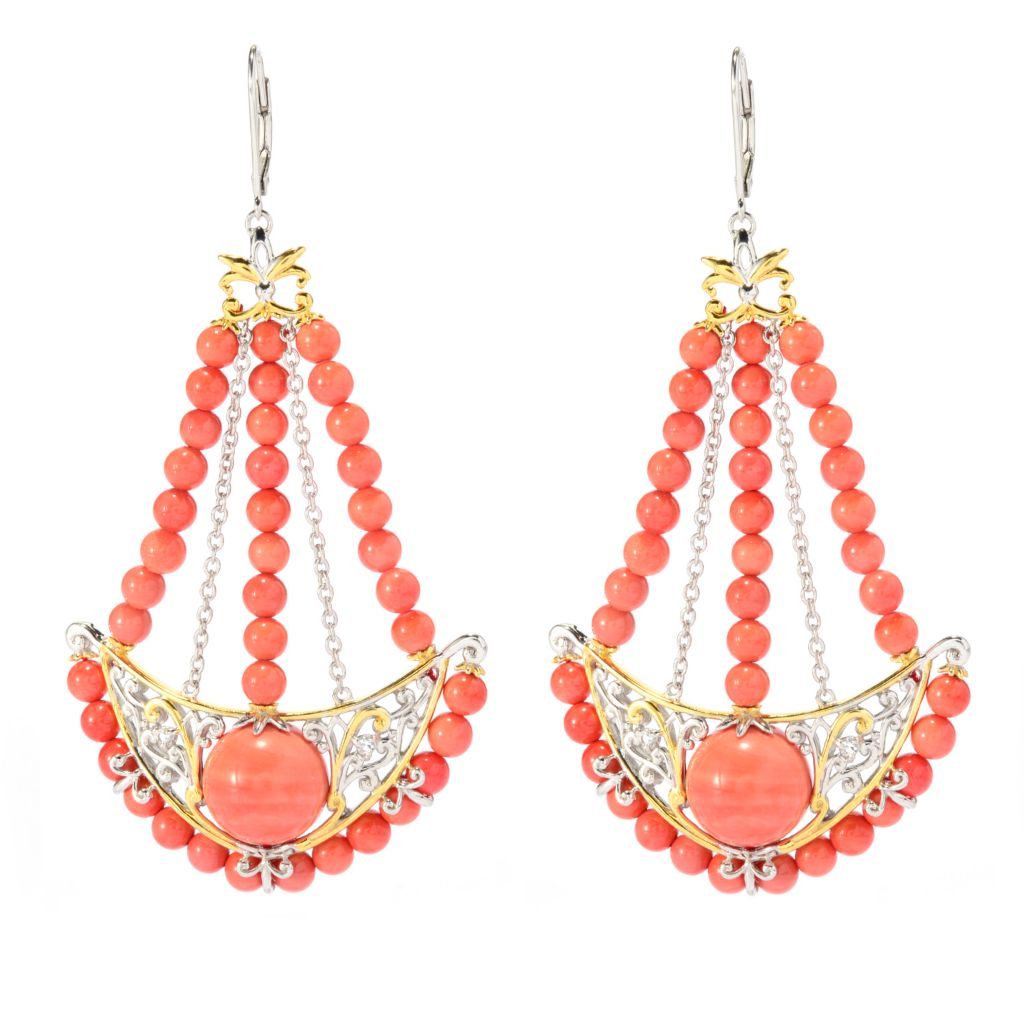 "139-422 - Gems en Vogue 3"" 12mm Salmon Bamboo Coral & White Sapphire Dangle Earrings"