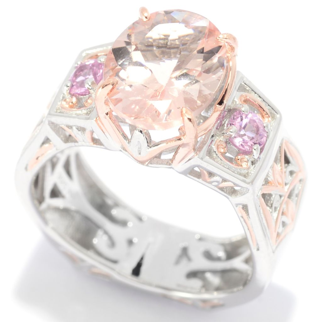 139-425 - Gems en Vogue II 2.45ctw Oval Morganite & Pink Sapphire Band Ring