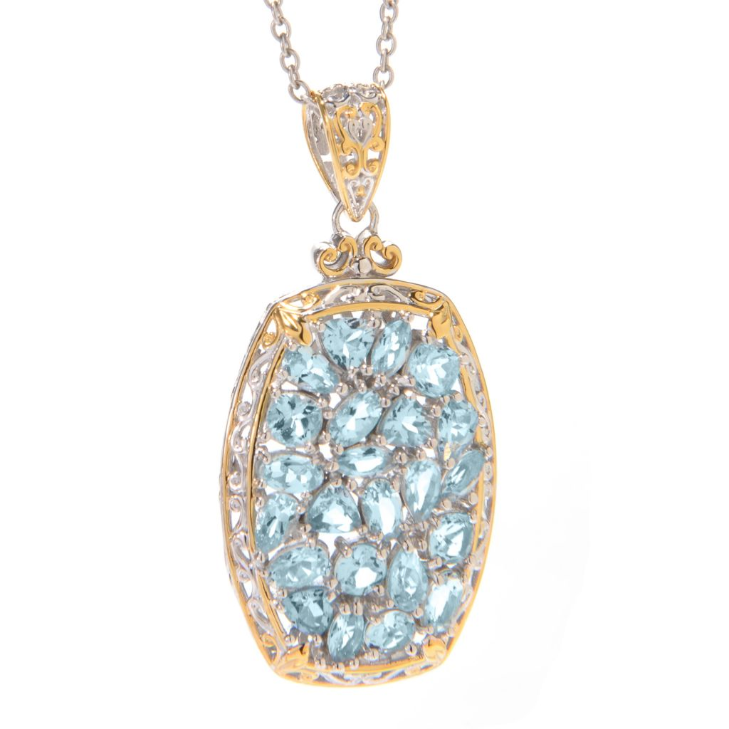 139-446 - Gems en Vogue 5.39ctw Multi Shape Aquamarine Pendant w/ Chain