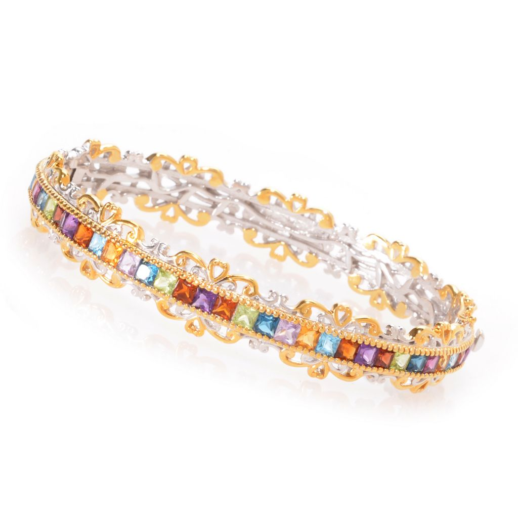 139-447 - Gems en Vogue 5.71ctw Princess Cut Multi Gem Hinged Bangle Bracelet