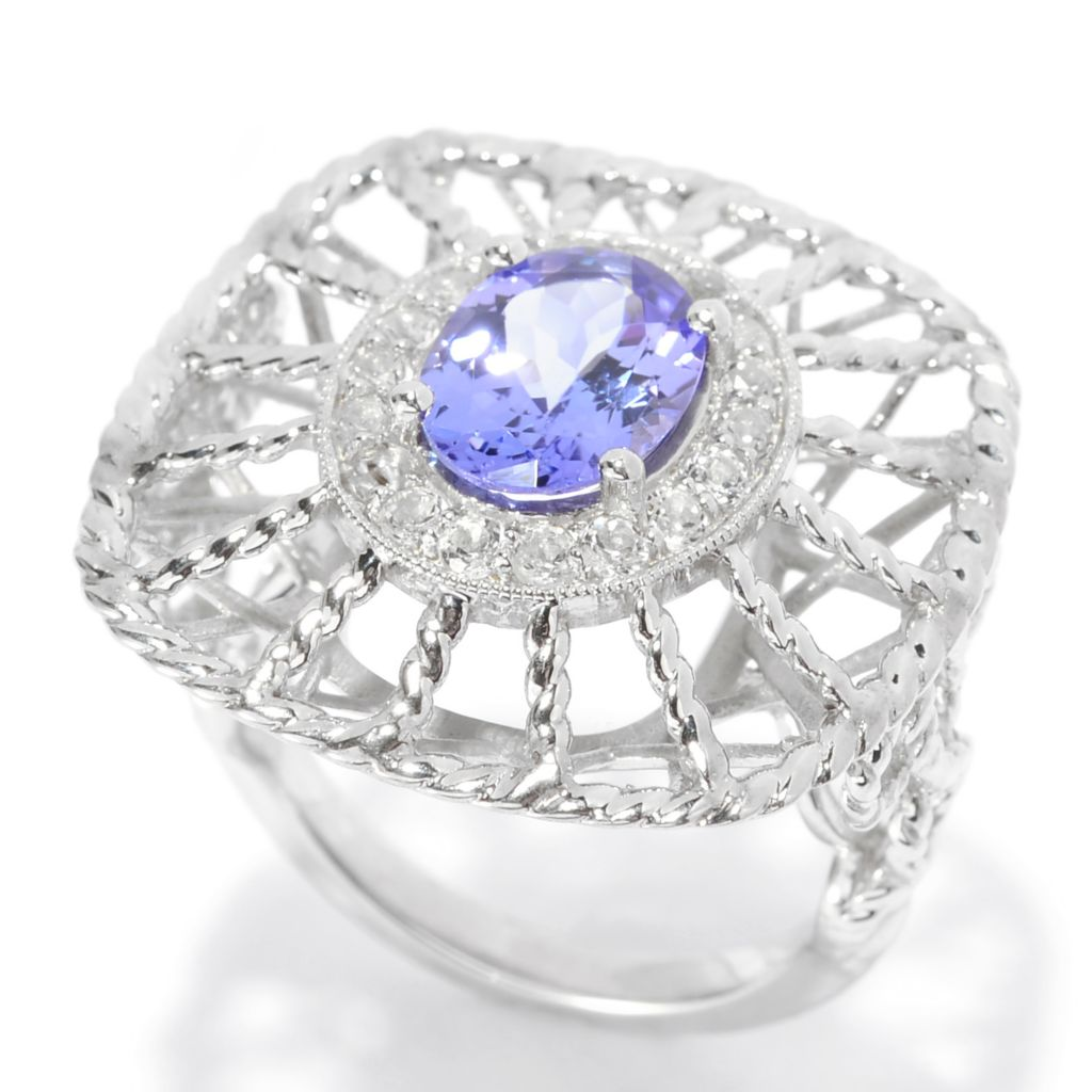 139-448 - Gem Treasures Sterling Silver 2.13ctw Tanzanite & White Topaz Openwork Ring
