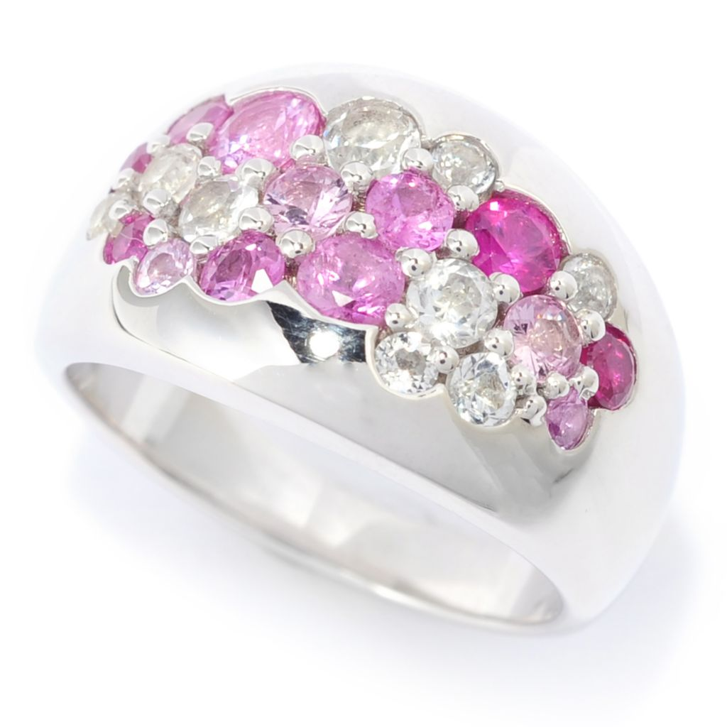 139-449 - Gem Treasures Sterling Silver 1.89ctw Shades of Fancy Sapphire Cluster Band Ring