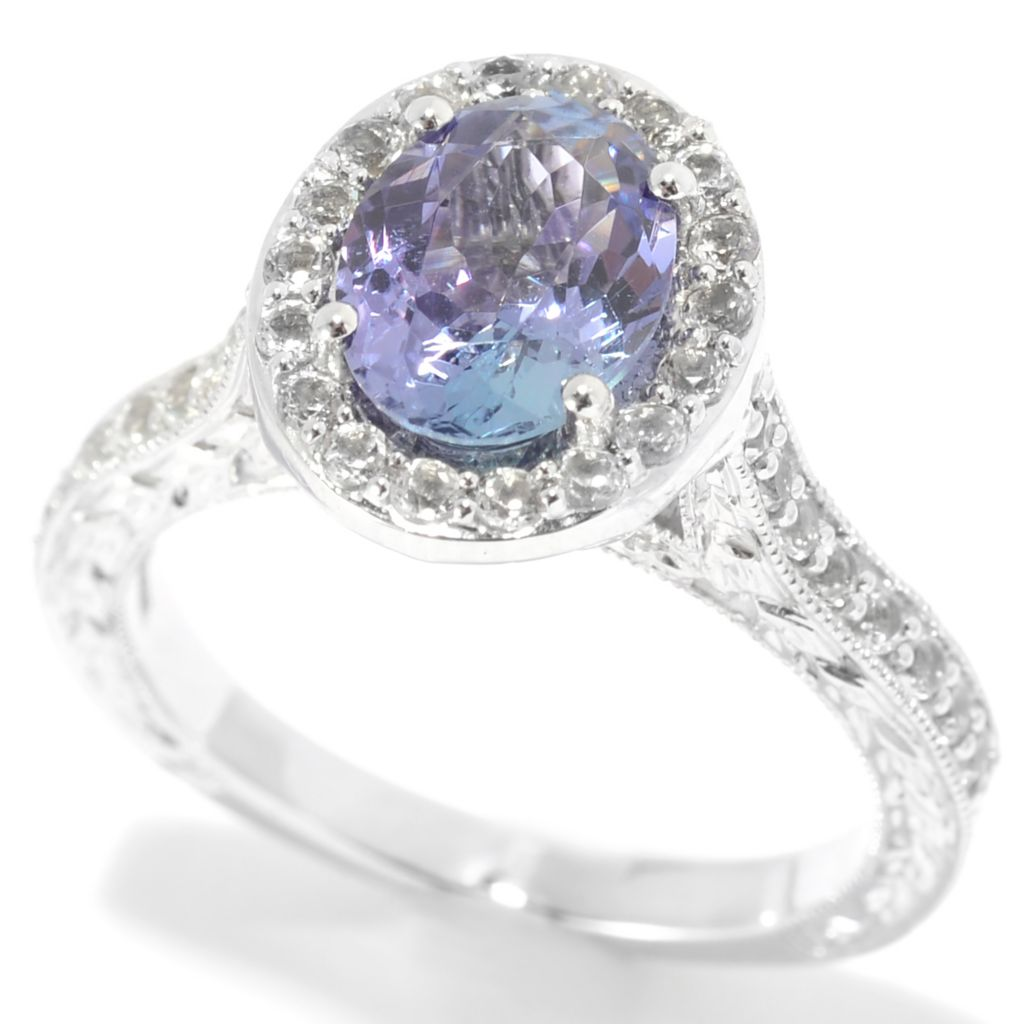 139-450 - Gem Treasures 14K White Gold 2.32ctw Tanzanite & White Topaz Oval Halo Ring