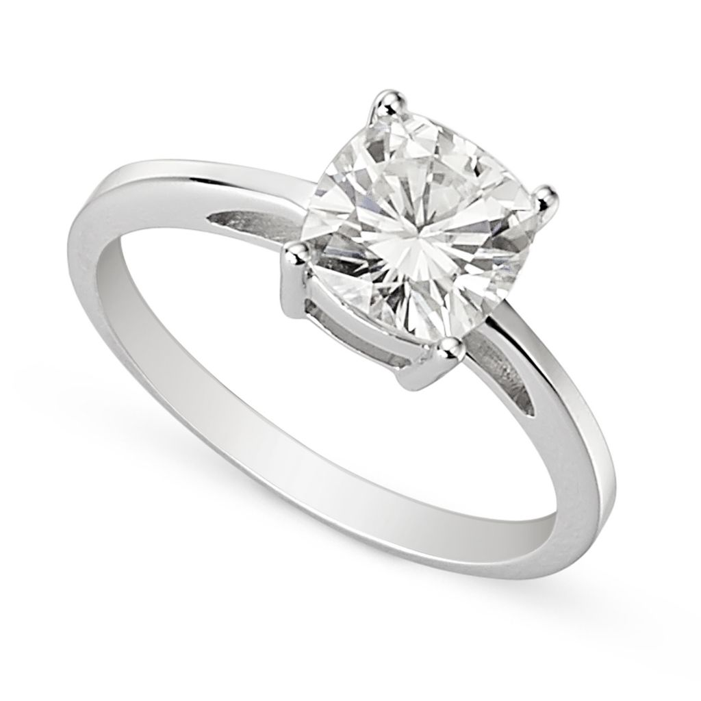 139-451 - Forever Brilliant® Moissanite 14K White Gold 1.70 DEW Cushion Cut Solitaire Ring