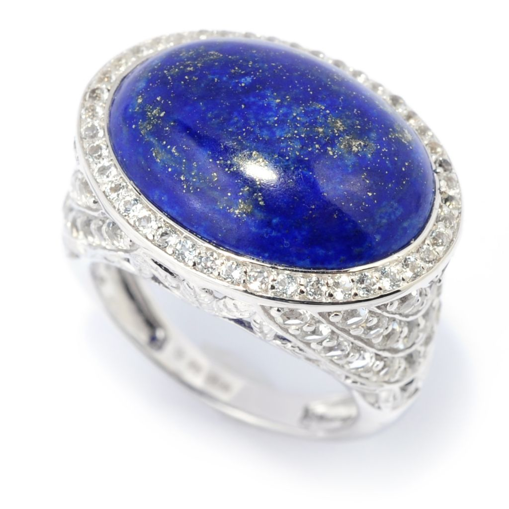 139-466 - Gem Insider Sterling Silver 19 x 14mm Lapis & White Topaz East-West Ring