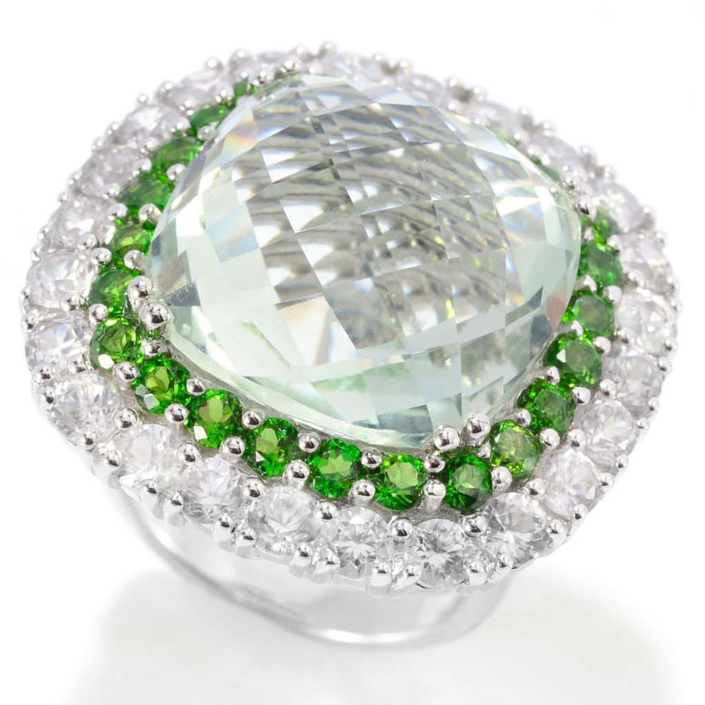 139-467 - Gem Insider Sterling Silver 20.13ctw Cushion Shaped Prasiolite & Multi Gem Ring