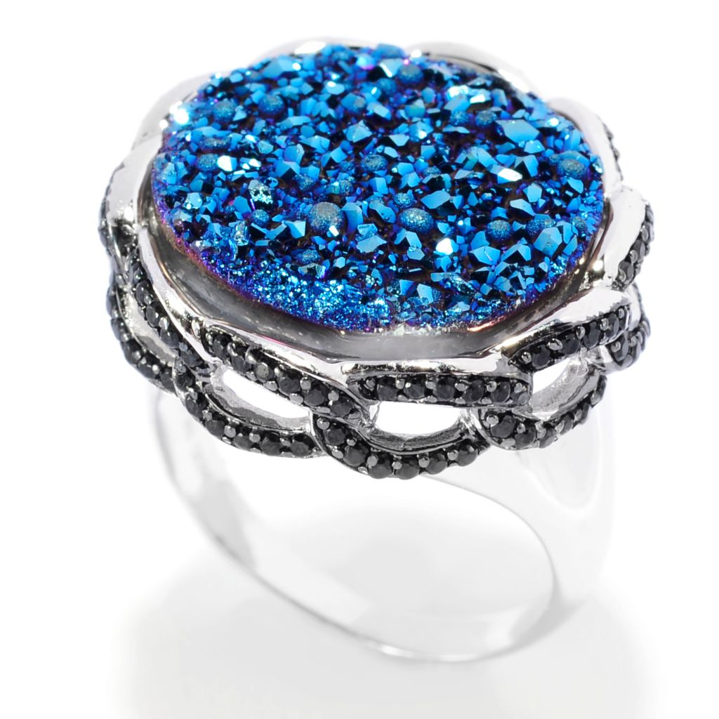 139-468 - Gem Insider Sterling Silver 17mm Blue Drusy & Black Spinel Link Border Ring
