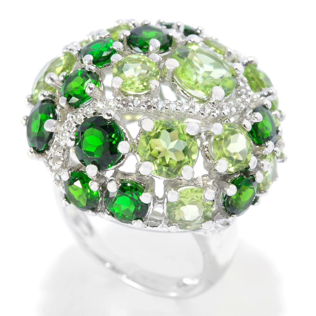 139-469 - Gem Insider Sterling Silver 10.82ctw Peridot, Chrome Diopside & White Topaz Ring