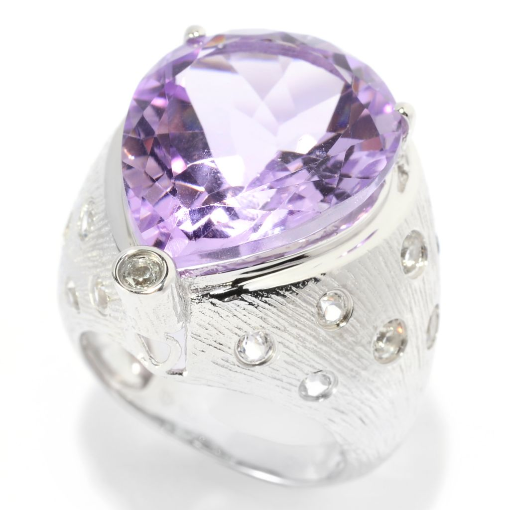 139-470 - Gem Treasures Sterling Silver 14.79ctw Pear Cut Pink Amethyst & White Topaz Ring