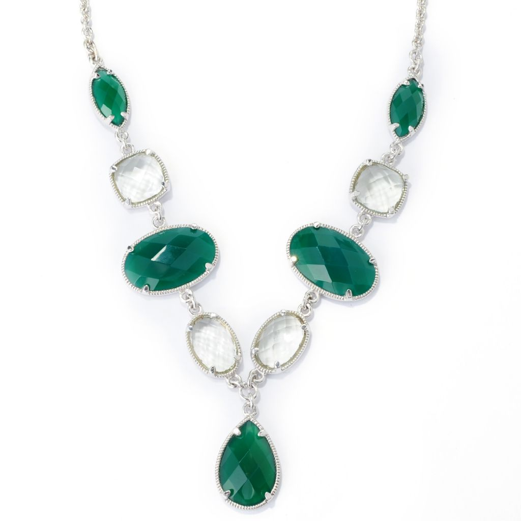 "139-472 - Gem Insider Sterling Silver 18"" Green Agate & Prasiolite Drop Necklace"