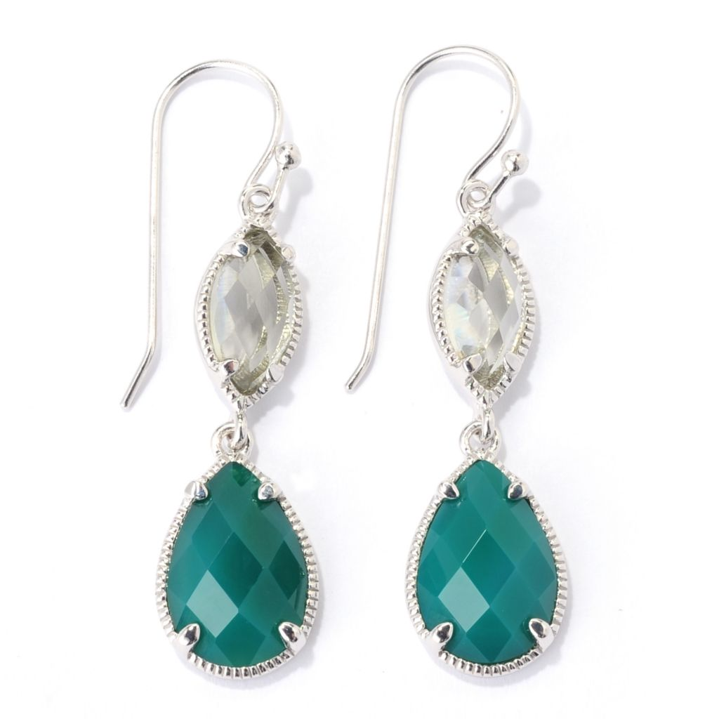 "139-473 - Gem Insider Sterling Silver 1.75"" Green Agate & Prasiolite Drop Earrings"