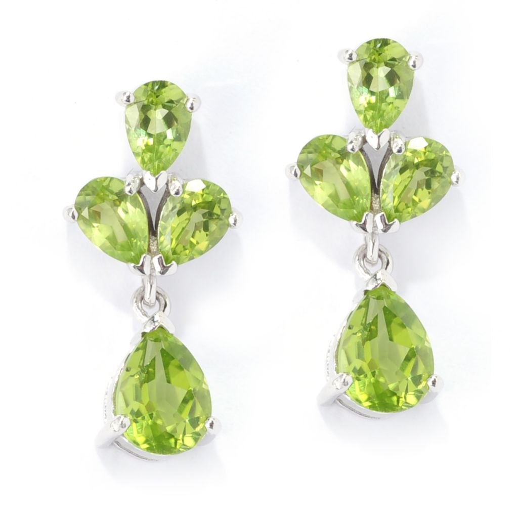 139-475 - Gem Insider Sterling Silver 4.64ctw Pear Cut Peridot Cluster Drop Earrings