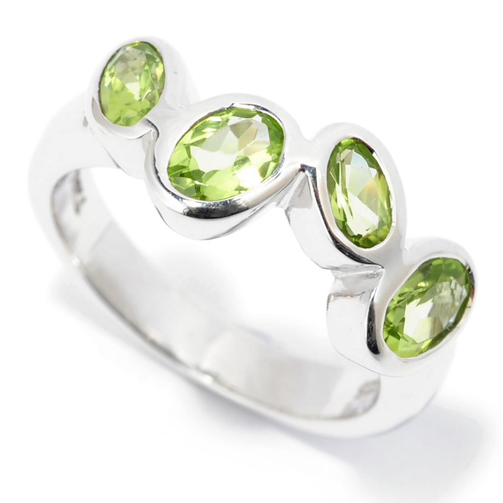 139-477 - Gem Insider Sterling Silver 1.36ctw Peridot Four-Stone Band Ring