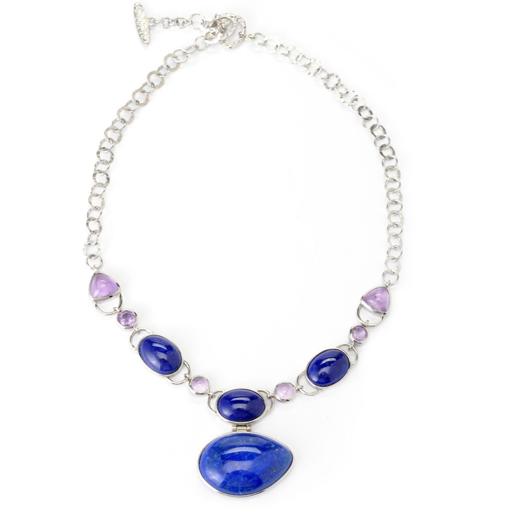 "139-478 - Gem Insider Sterling Silver 20"" 31 x 23mm Lapis & Amethyst Toggle Necklace"