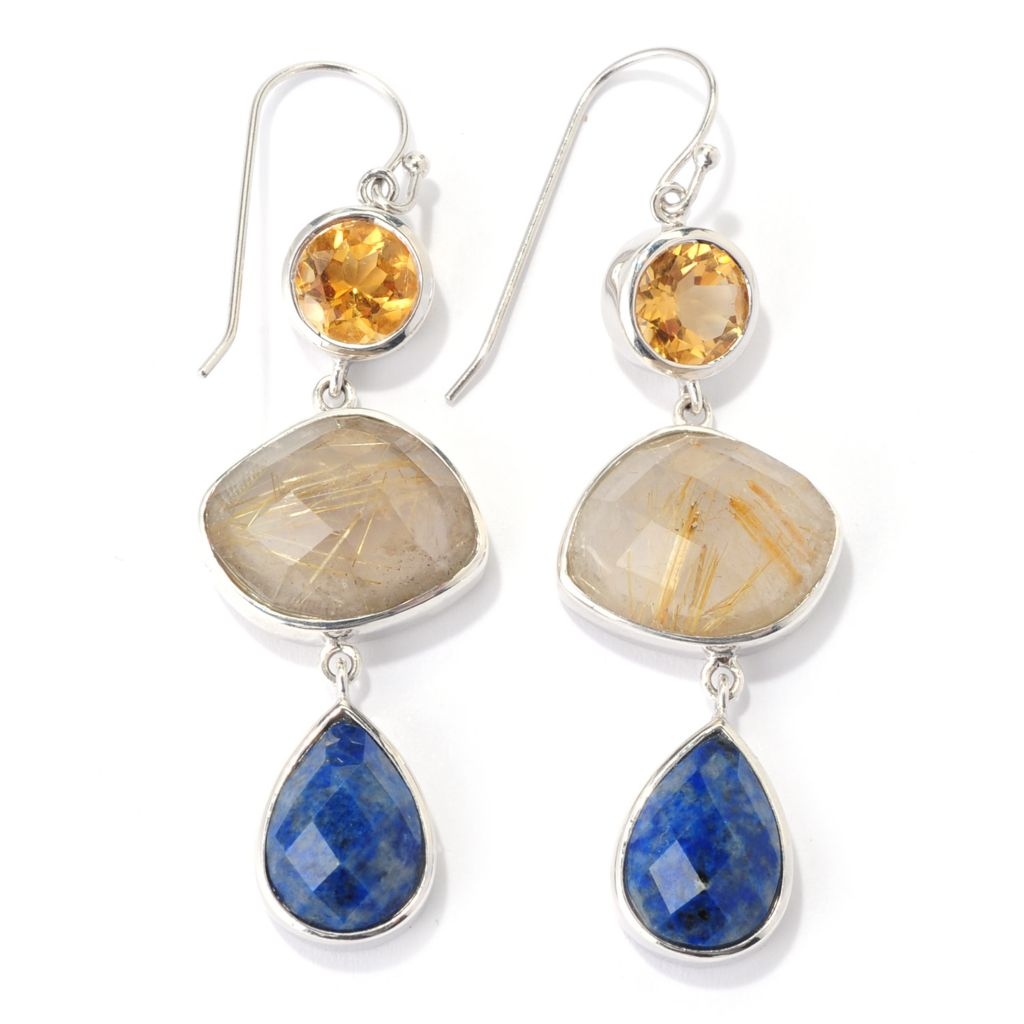 "139-479 - Gem Insider Sterling Silver 2.5"" Lapis, Rutilated Quartz & Citrine Earrings"