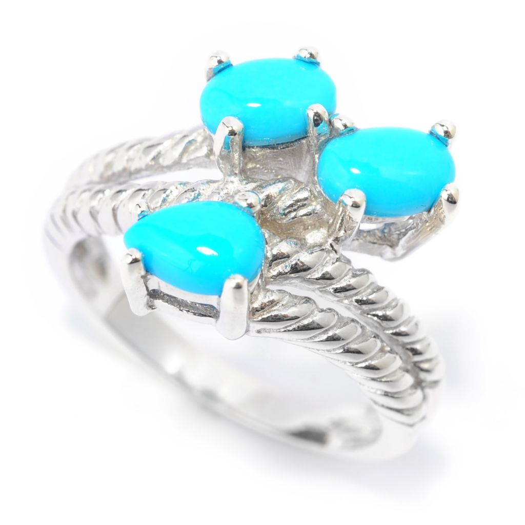 139-480 - Gem Insider Sterling Silver Sleeping Beauty Turquoise Three-Stone Ring