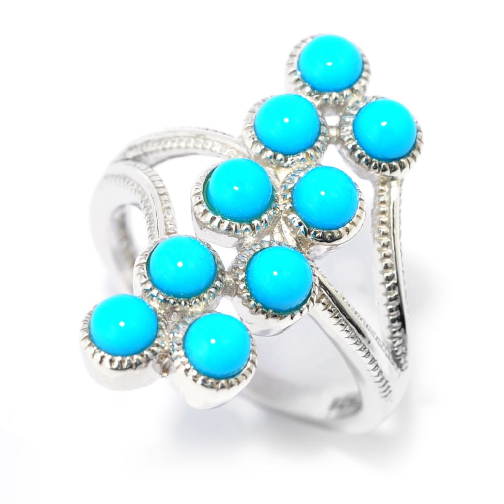 139-481 - Gem Insider Sleeping Beauty Turquoise North-South Split Shank Ring