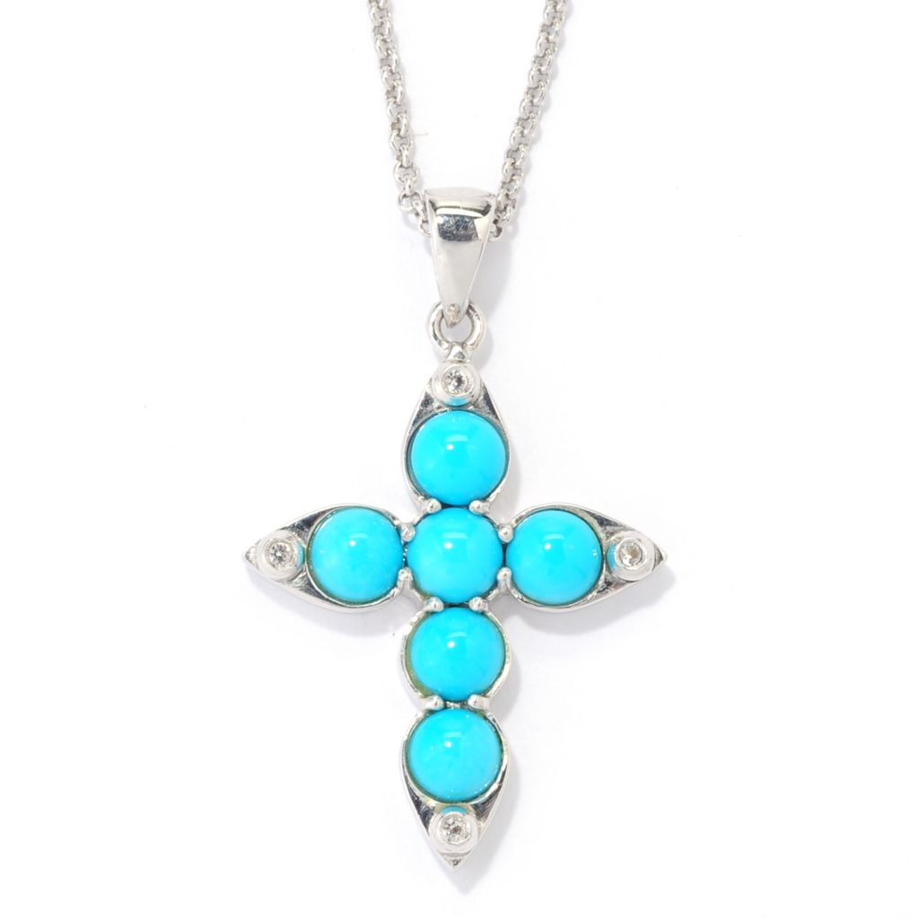 139-482 - Gem Insider Sterling Silver Sleeping Beauty Turquoise & Zircon Cross Pendant