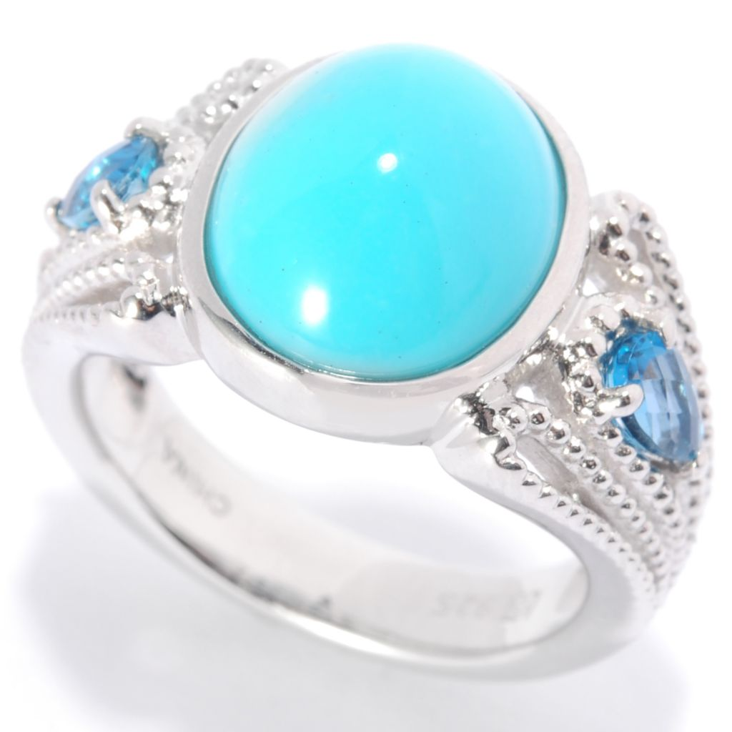 139-487 - Gem Insider Sterling Silver 12 x 10mm Sleeping Beauty Turquoise & Blue Topaz Ring