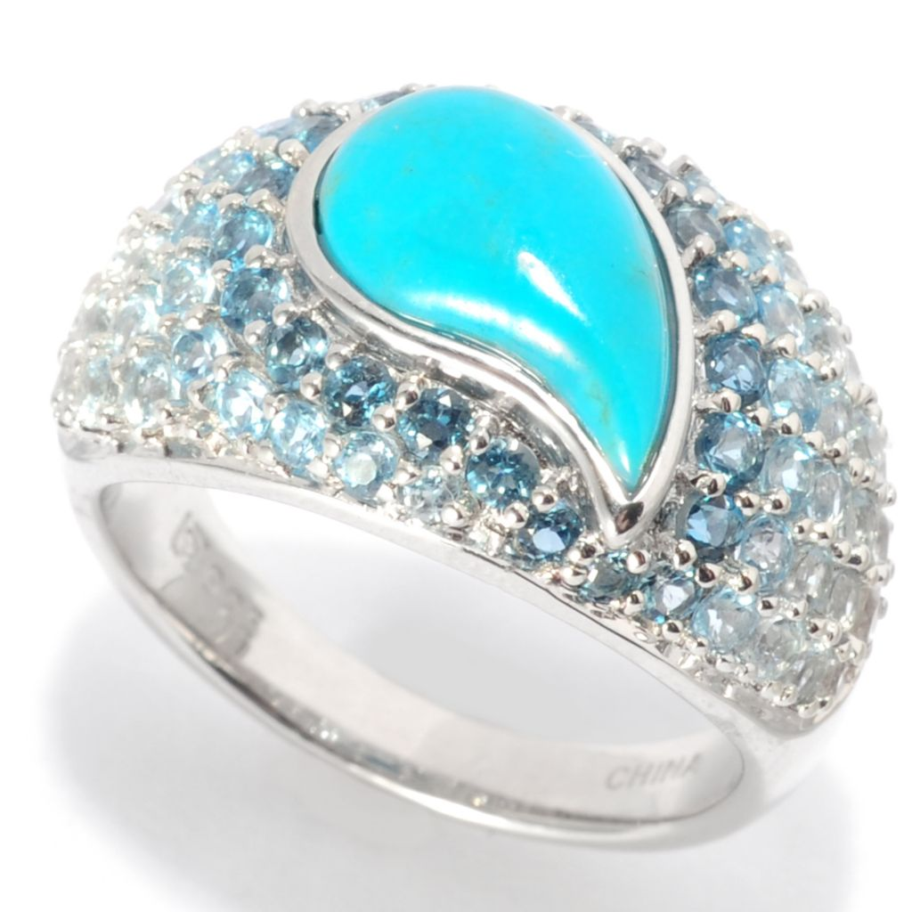 139-488 - Gem Insider Sterling Silver 12 x 7mm Teardrop Turquoise & Multi Topaz Ring