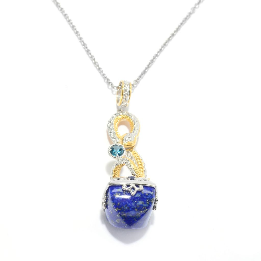 139-490 - Gems en Vogue II 14mm Lapis Lazuli & Multi Gemstone Sculpted Snake Pendant w/ Chain