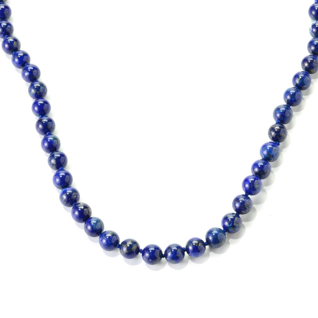 "139-493 - Gem Insider 80"" 8mm Round Lapis Bead Endless Necklace"
