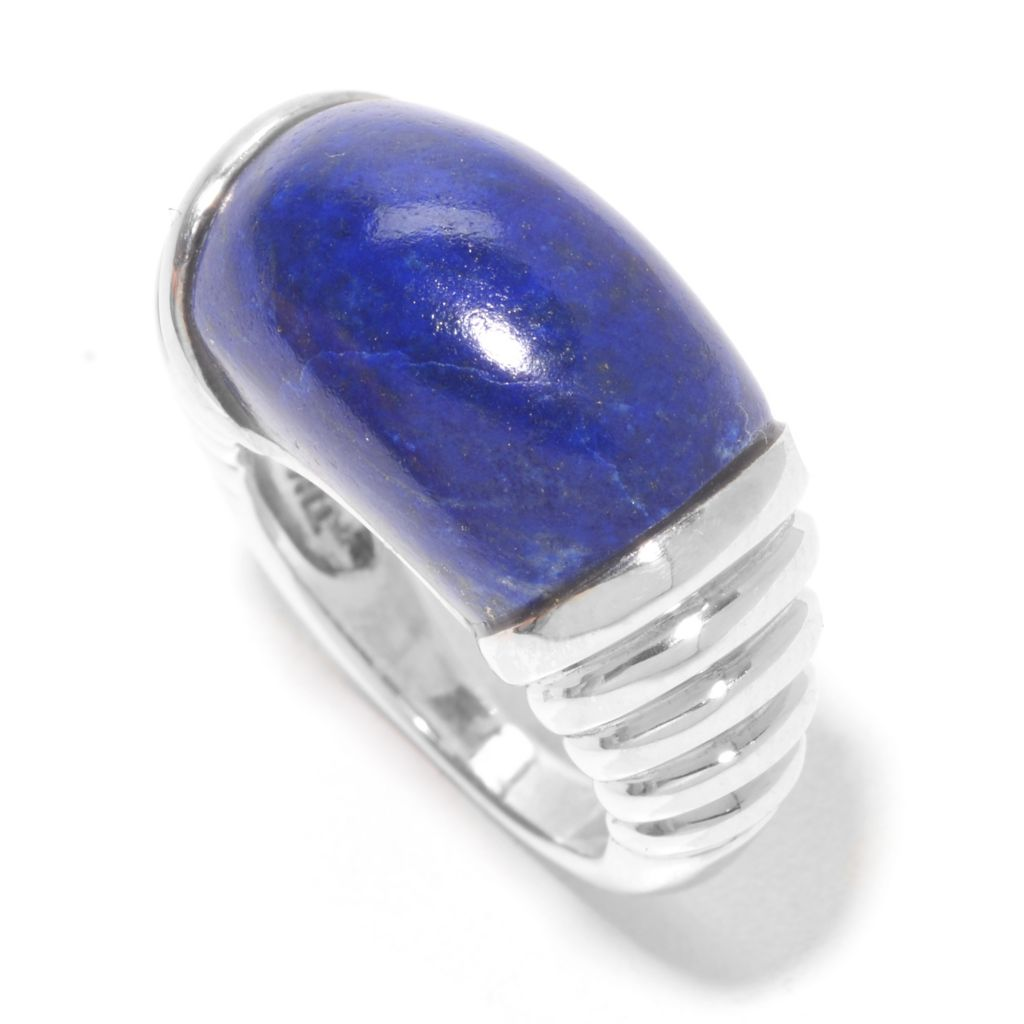139-494 - Gem Insider Sterling Silver 18 x 13mm Lapis Ribbed Shank Wide Band Ring