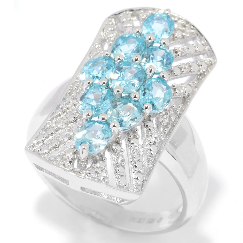 139-496 - Gem Treasures Sterling Silver 2.12ctw Blue & White Zircon North-South Ring