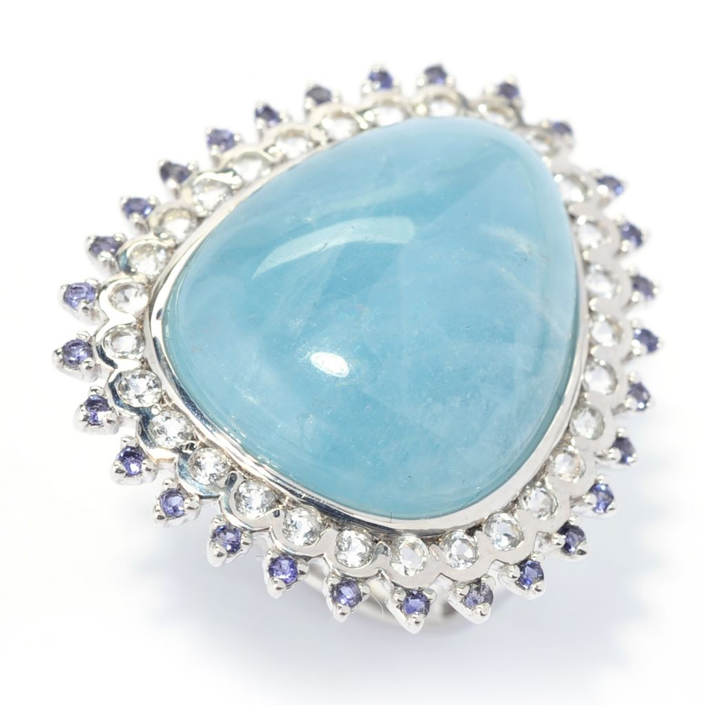 139-497 - Gem Treasures Sterling Silver 20 x 16.5mm Aquamarine & Multi Gemstone Halo Ring