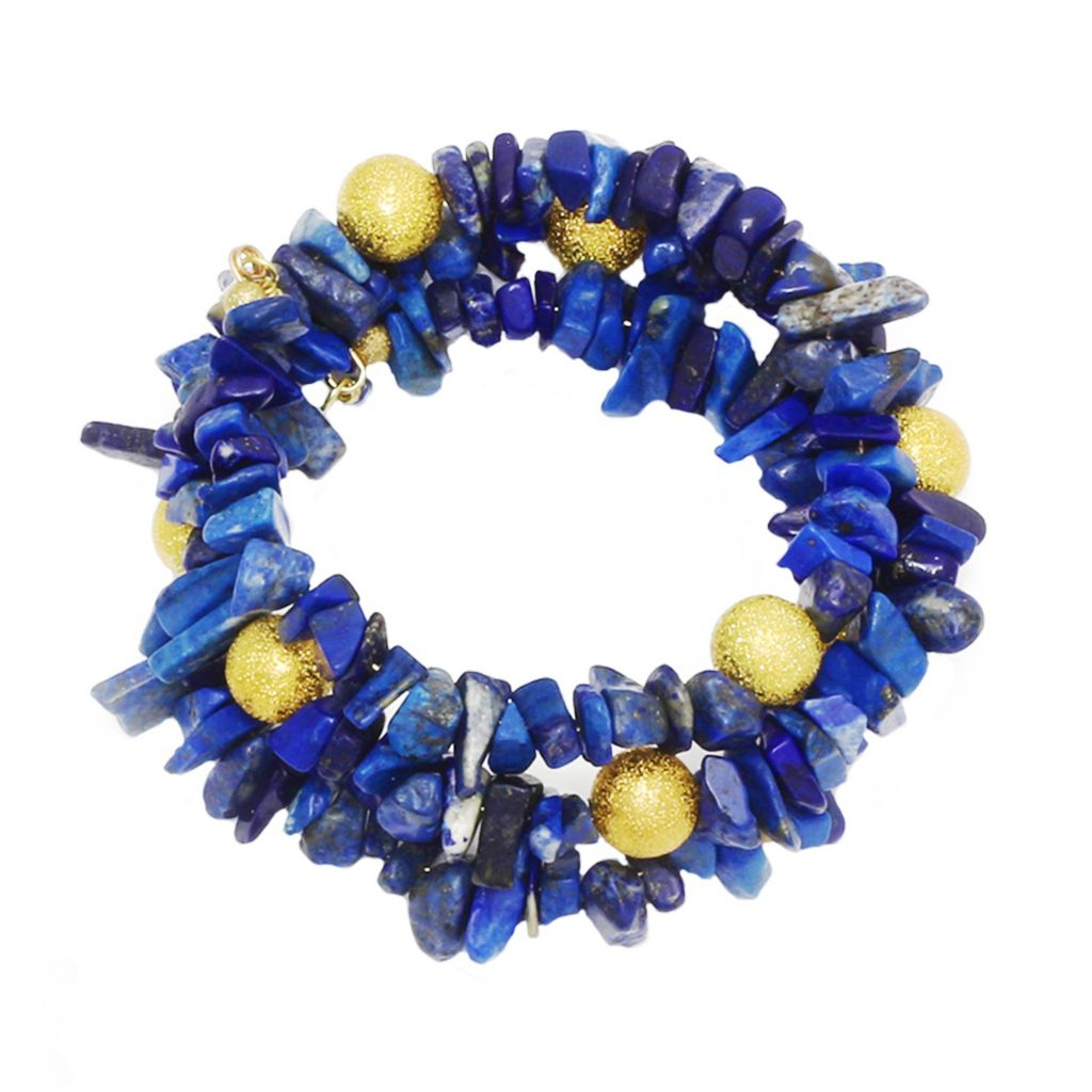 139-513 - MINU Jewels Aquamarine or Lapis Chip & Bead Wrap Bracelet