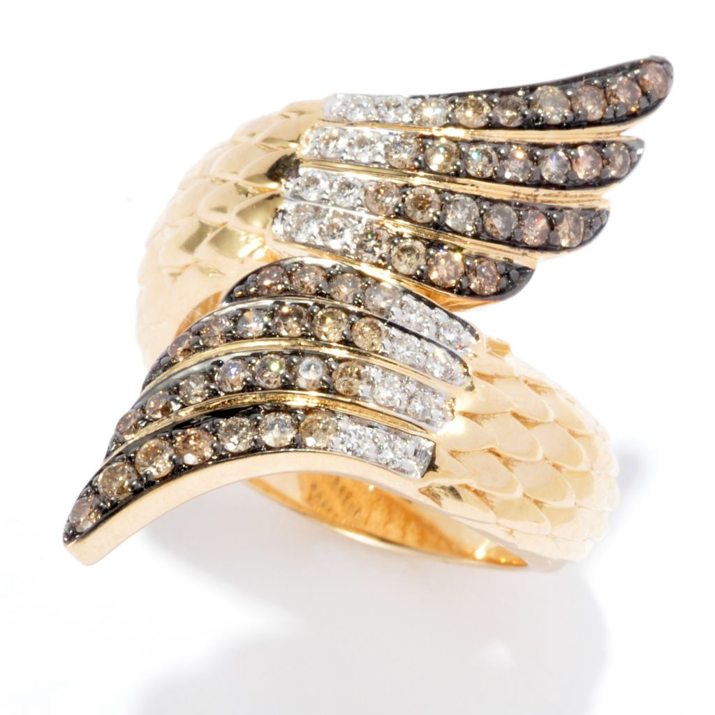 139-532 - Beverly Hills Elegance 14K Gold 0.54ctw Champagne & White Diamond Wing Bypass Ring