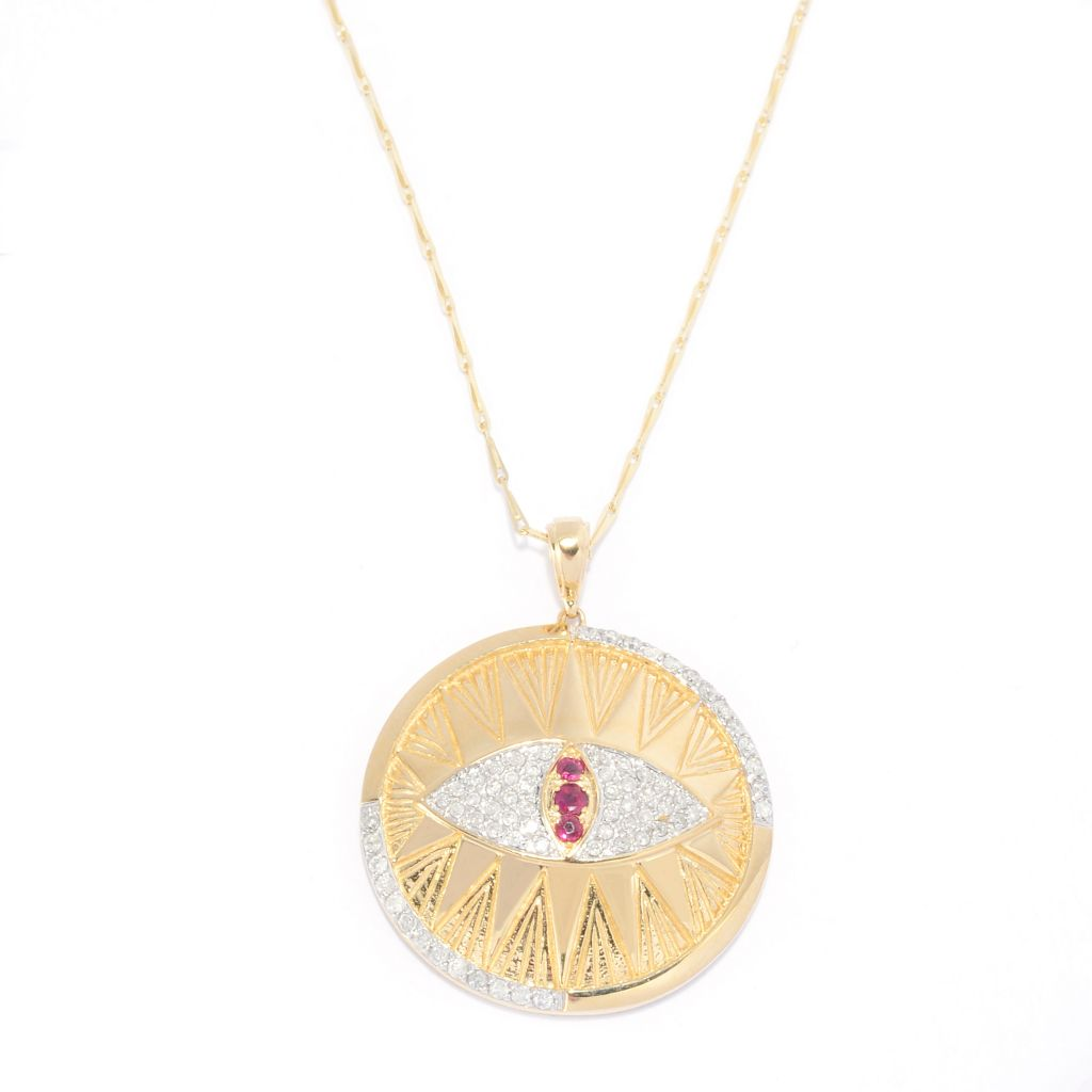 "139-536 - Beverly Hills Elegance 14K Gold 0.30ctw Diamond & Ruby Evil Eye Pendant w/ 18"" Chain"