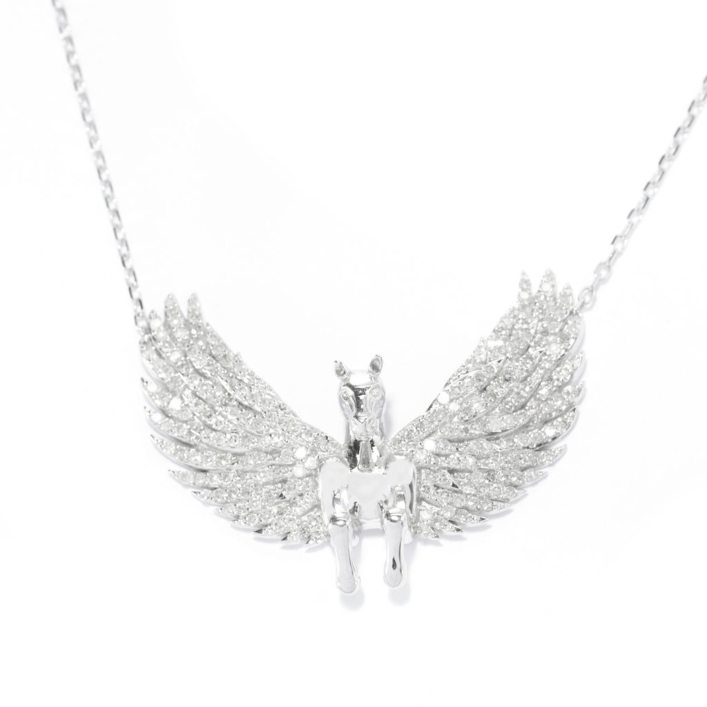 "139-537 - Beverly Hills Eleg 14K White Gold 0.97ctw Diamond Pegasus Pendant w/ 18"" Chain"