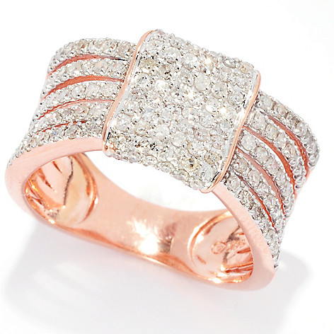 139-538 - Beverly Hills Elegance 14K Rose Gold 0.58ctw Diamond Square Multi Band Wide Ring