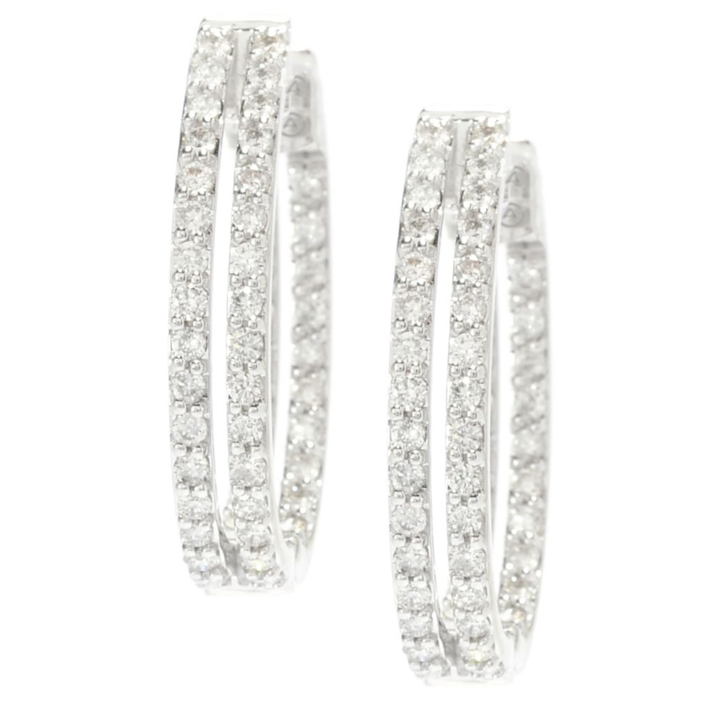 139-539 - Beverly Hills Elegance 14K White Gold 1.20ctw Diamond Double Row Hoop Earrings