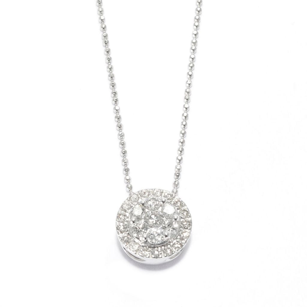 "139-541 - Beverly Hills Elegance 14K White Gold 0.48ctw Diamond Circle Pendant w/ 18"" Chain"