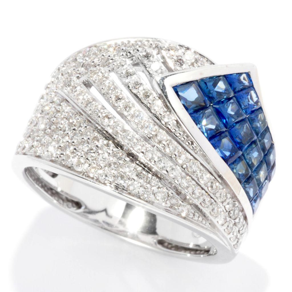 139-543 - Beverly Hills Eleg 14K White Gold 2.40ctw Diamond & Sapphire Wide Band Ring