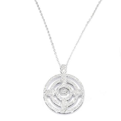 139-544 - Beverly Hills Elegance® 14K White Gold 0.75ctw Diamond Heartbeat Cross & Halo Pendant