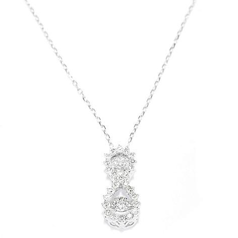 139-545 - Beverly Hills Eleg 14K White Gold 1.00ctw Diamond Double Halo Heartbeat Pendant