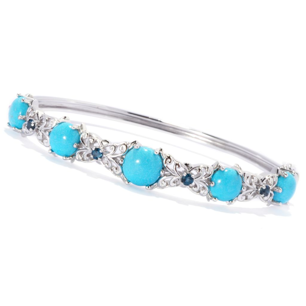 139-547 - Gem Insider Sterling Silver Oval Turquoise & Blue Topaz Bangle Bracelet