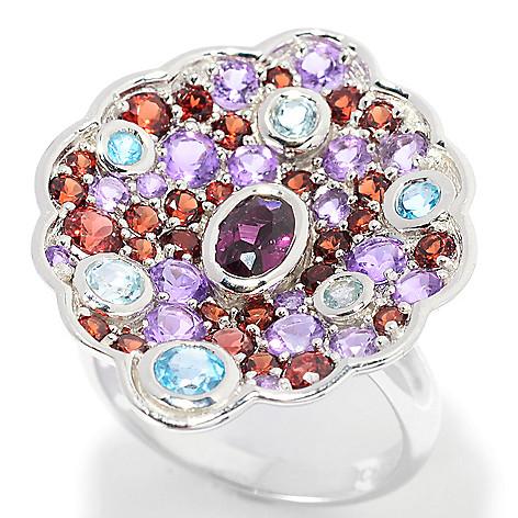 139-548 - Gem Insider™ Sterling Silver 2.89ctw Rhodolite Garnet & Multi Gem Concave Ring