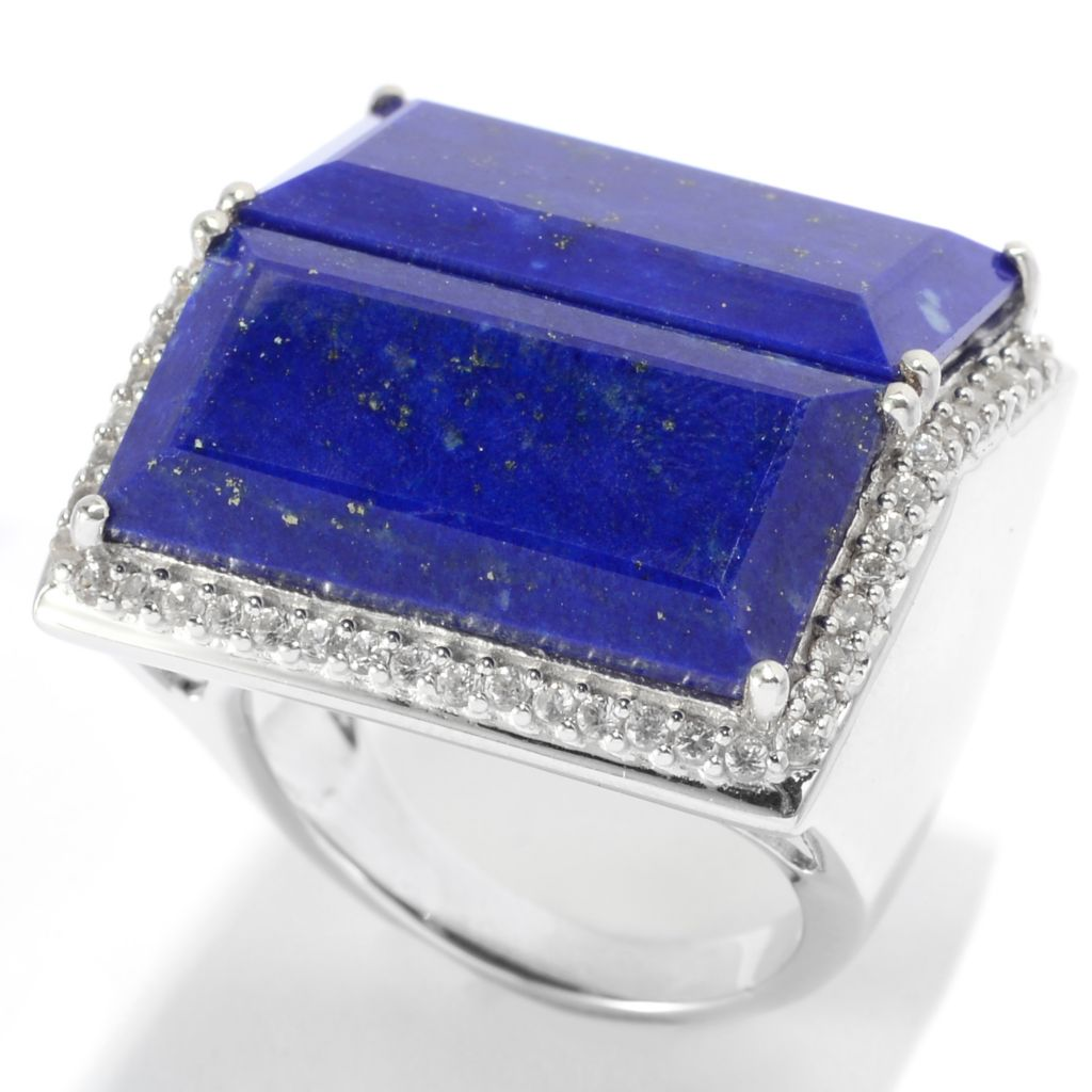 139-552 - Gem Insider Sterling Silver 20 x 10mm Step Cut Lapis & White Zircon Ring