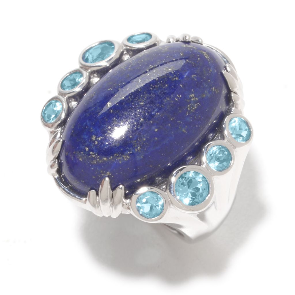 139-553 - Gem Insider Sterling Silver 22 x 14mm Lapis & Swiss Blue Topaz North-South Ring