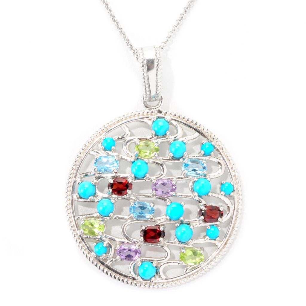 139-554 - Gem Insider Sterling Silver Sleeping Beauty Turquoise & Multi Gem Circle Pendant