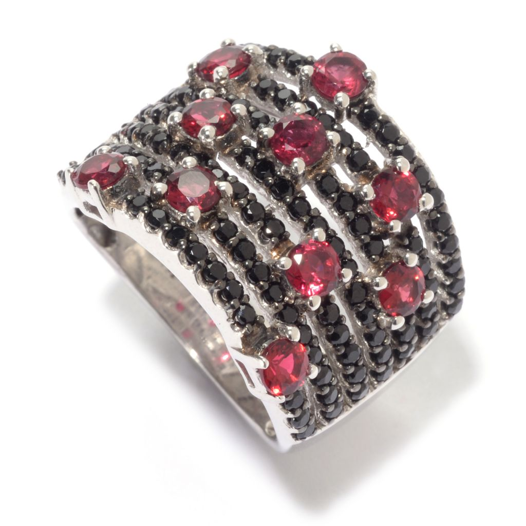 139-560 - NYC II 2.08ctw Round Red & Black Spinel Wide Band Ring