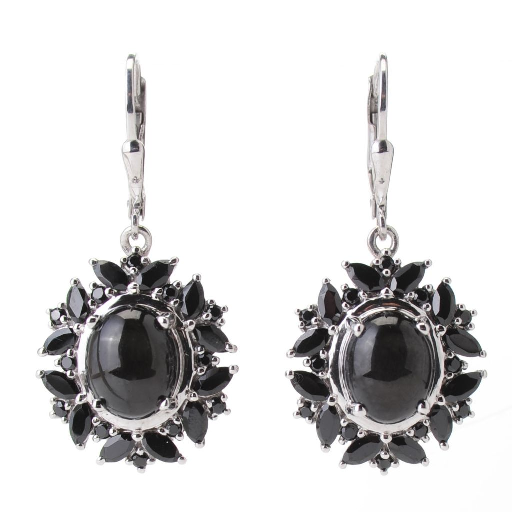 139-562 - NYC II 10 x 8mm Black Star Diopside & Black Spinel Drop Earrings