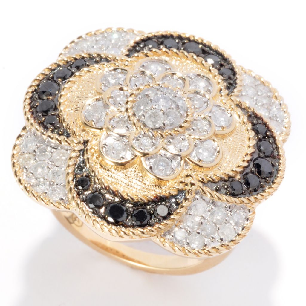 139-567 - Beverly Hills Elegance 14K Gold 1.50ctw Black & White Diamond Flower Ring
