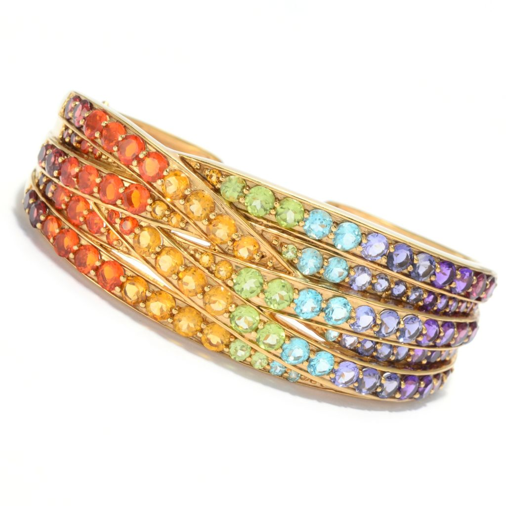 139-576 - NYC II 16.40ctw Multi Gemstone Exotic Rainbow Highway Hinged Cuff Bracelet