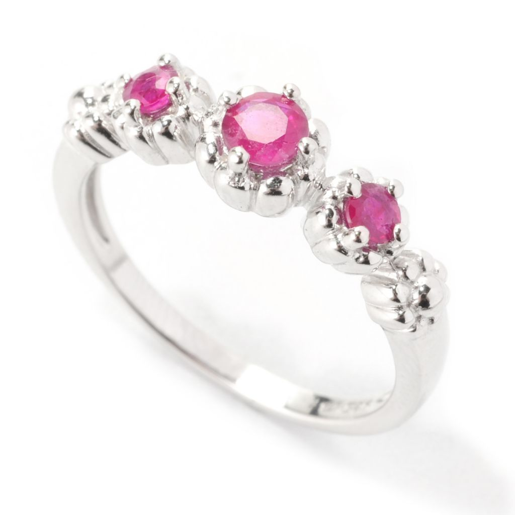 139-579 - Gem Treasures Sterling Silver Round Gemstone Three-Stone Floral Band Ring